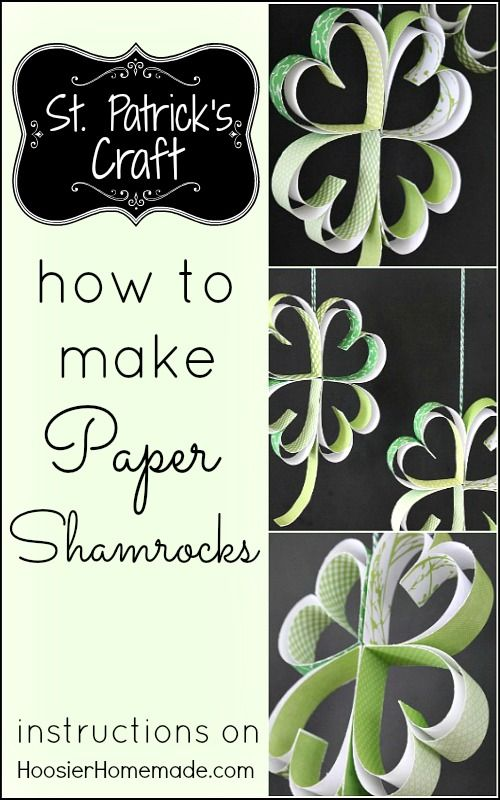 St. Patrick's Day Craft: How to make Paper Shamrocks : Instructions on HoosierHomemade.com