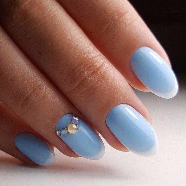 Blue summer nails, Festive nails, Long nails, Nail polish for blue dress, Nails with gems, Office nails, Party nails, Perfect nails
