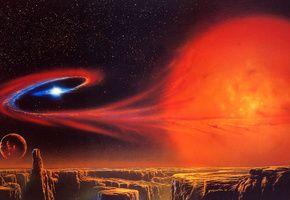 Обои красные нити, галактика, планета