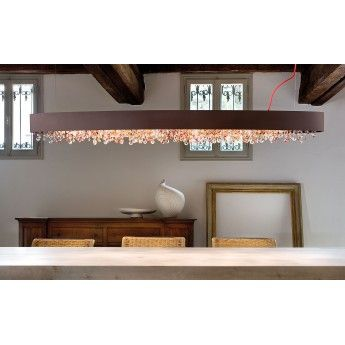 Nowoczesna lampa wisząca z serii Olà #Masiero #lampa_wisząca #jadalnia #nowoczesne_lampy #design #interior #ciekawe_lampy #kryształy #cristal #lampy_kraków #kraków #abanet #abanet_kraków