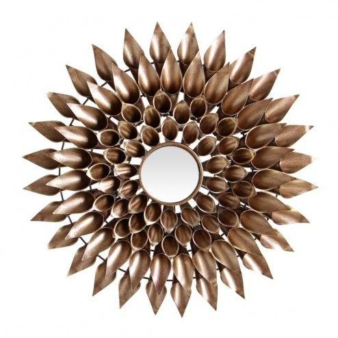 Espejo redondo decoraci n flor oro 50 cm ix50392 en nuryba for Espejos decorativos