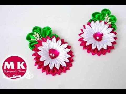 Мастер-класс Канзаши.Заколки для волос.Цветы из лент/Hairpin.Flower Kanz...