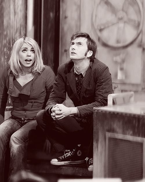 Billie Piper, David Tennant. Rose Tyler, The Tenth Doctor (respectively). Doctor Who.