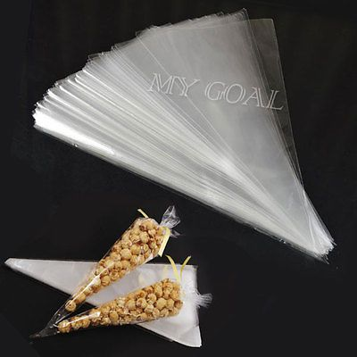 100PCS Cellophane Candy Popcorn Cones Cello Bags Party Favour Sweet Candy Pack in Home, Furniture & DIY, Home, Furniture & DIY | eBay