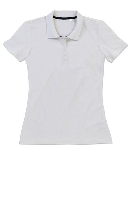 Polo de damă alb Hanna Stars by Stedman din 100% bumbac pieptănat ring-spun (Piqué) #tricouri #polo #personalizate #albe #dama #promotionale