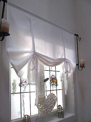 Details Zu Gardine Raffrollo Weiss 80 100 120 140 156 Landhaus Shabby Chic Vintage Retro