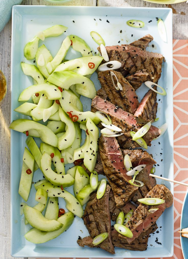 Korean-style BBQ steak with cucumber pickles