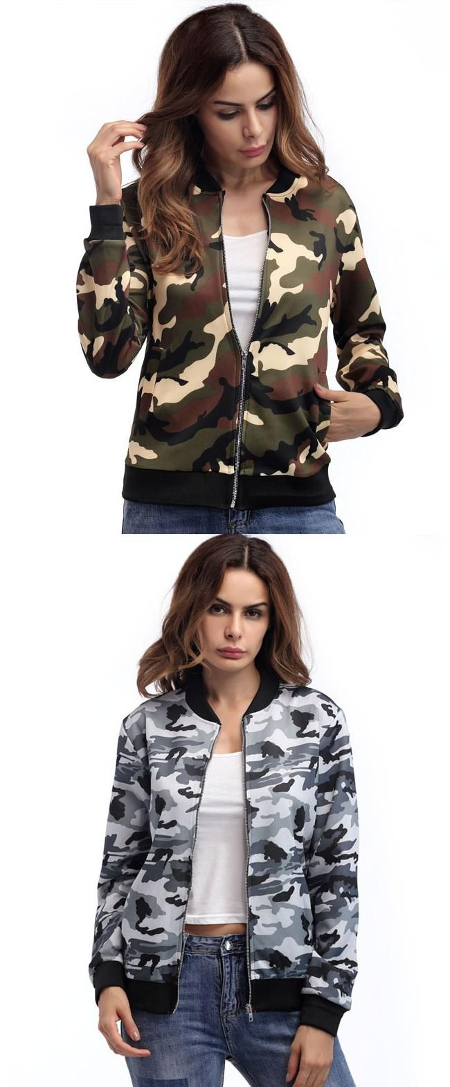 Short military bomber ladies camo jacket tops pinterest green