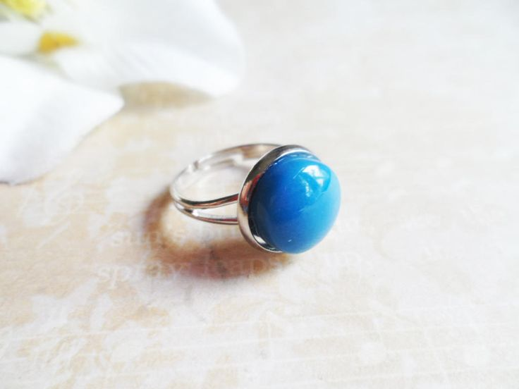 Scandinavian platinum ring with an upcycled ceramic pendant, adjustable Selma Dreams Nordic accessories, modern repurposed jewelry by SelmaDreams on Etsy