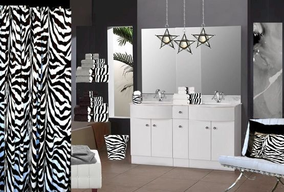Zebra print bathroom decor and accessories