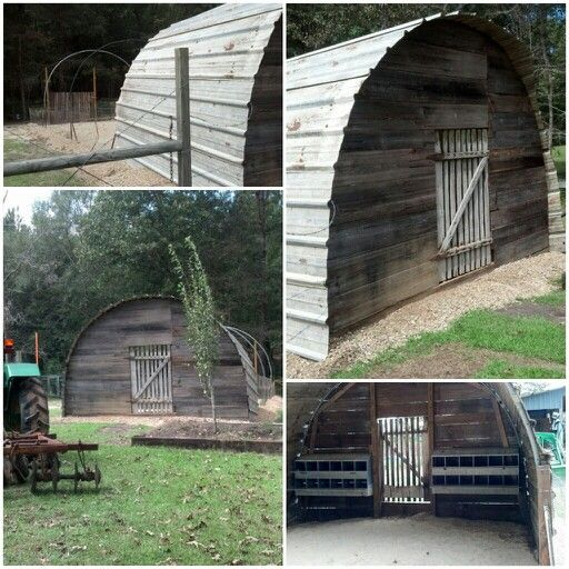 Our rustic chicken coop made from old trampoline rings and old wood..my husband did a great job!