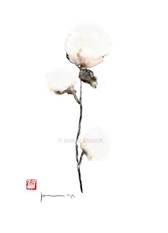 Cotton painting cotton plant natural cotton art by ColorWatercolor, $30.00 #natural #cotton #plant