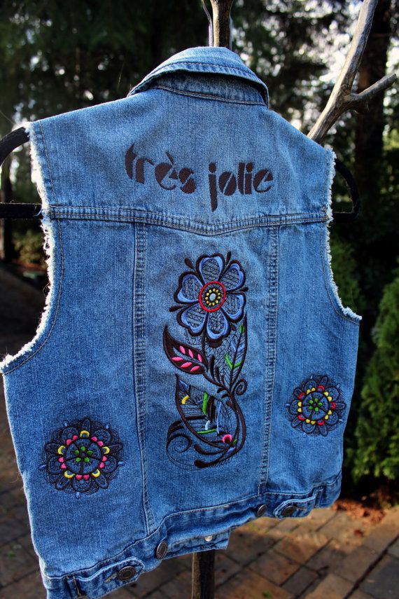 Women's Jean Vest (M), Tres Jolie French Theme-   from our CARAUT-Altered collection of upcycled denim clothing