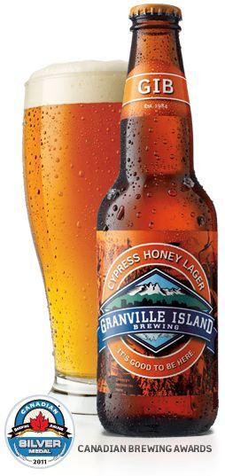 Cerveja Cypress Honey Lager, estilo Specialty Beer, produzida por Granville Island Brewing, Canadá. 5.6% ABV de álcool.