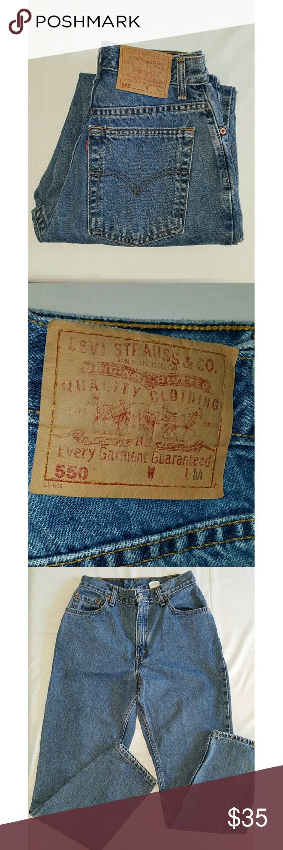 """NEWVTG LEVI'S 550 MOM JEANS LIGHT WASH JEANS VINTAGE LEVI'S 550 MOM JEANS LIGHT WASH Strut your stuff like your """"mom"""" did, afterall it was good enough for her!  Relaxed fit and tapered legs. Waist is 13"""" rise is 11"""" and inseam is 30"""". All measurements are approximate and taken flat.  Label says size 8 M. Levi's Jeans"""