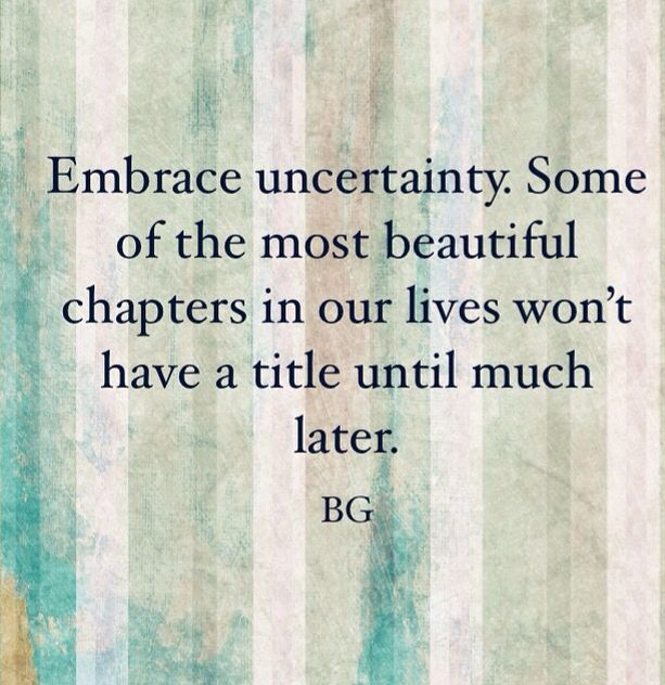 Embrace uncertainty. Some of the most beautiful chapters in your life won't have a title until later