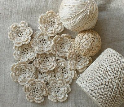 crochet flowers - digging out the crochet thread... in cream... swoon