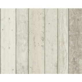 Steigerhout behang creme