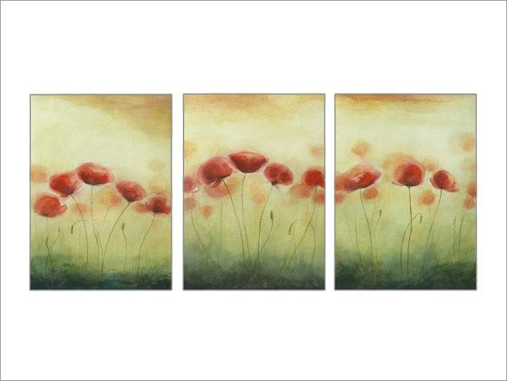 Triptych Poppies Painting, Original Watercolor Painting, Set Three Original Paintings, Field of Poppies, German Floral Art by Dorota Polland      Poppies