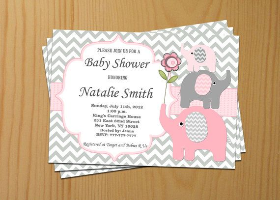 Invitaciones Baby Shower Elefante ~ Girl baby shower invitation elephant