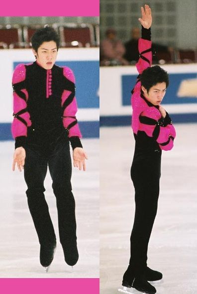 Daisuke Takahashi's not-so-awesome costume for his awesome Nyah short program at the 2004 World Championships. I like the buttons, but the sleeves definitely not so much. And the pink fabric at the back flapped around weirdly. Photo by Andrea...