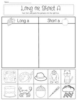 Students will cut out pictures and sort them by short or long vowel sounds. Vowels a, e, i, o, and u are included. One page per vowel.  Please follow me and look back for many more items.