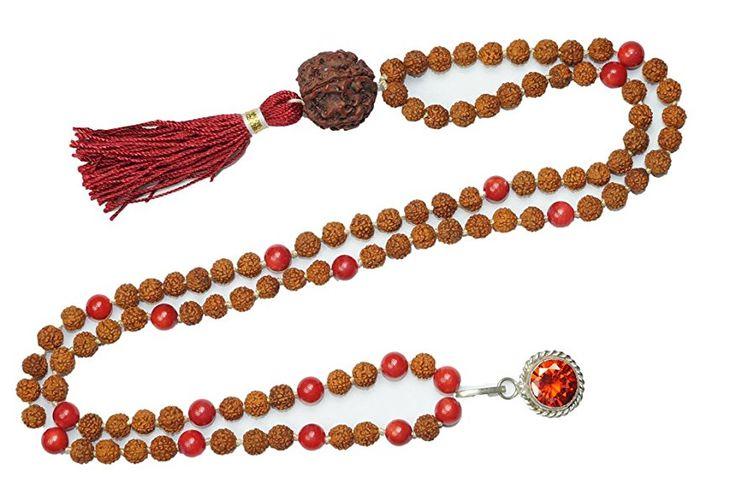 Necklace Mala Beads 108 Japamala Yoga Necklace coral Tibet Buddhist Prayer Malabeads  #yogamala #spiritualmala #sale #meditationmala