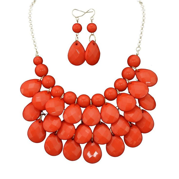 Layered Dangling Red Bubble Necklace Earring Set