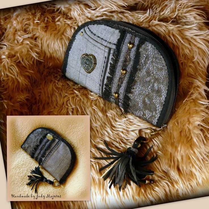 Handmade by Judy Majoros - Fringe wallet-clutch with heart-shaped decorations, and leather fringe. Recycled wallet-bag