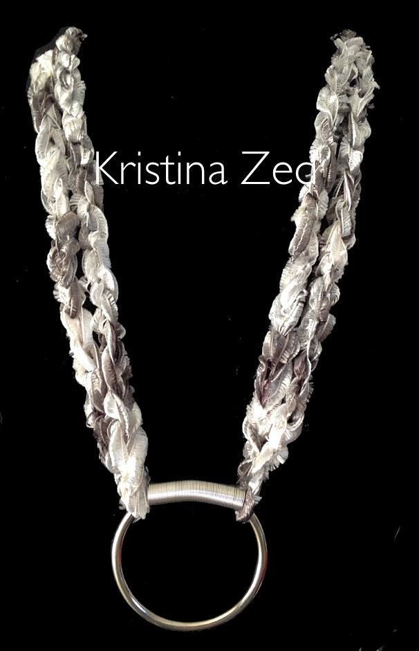 MY HANDMADE JEWELS- KNITTED SILK CORD & SILVER RING SPIRAL NECKLACE
