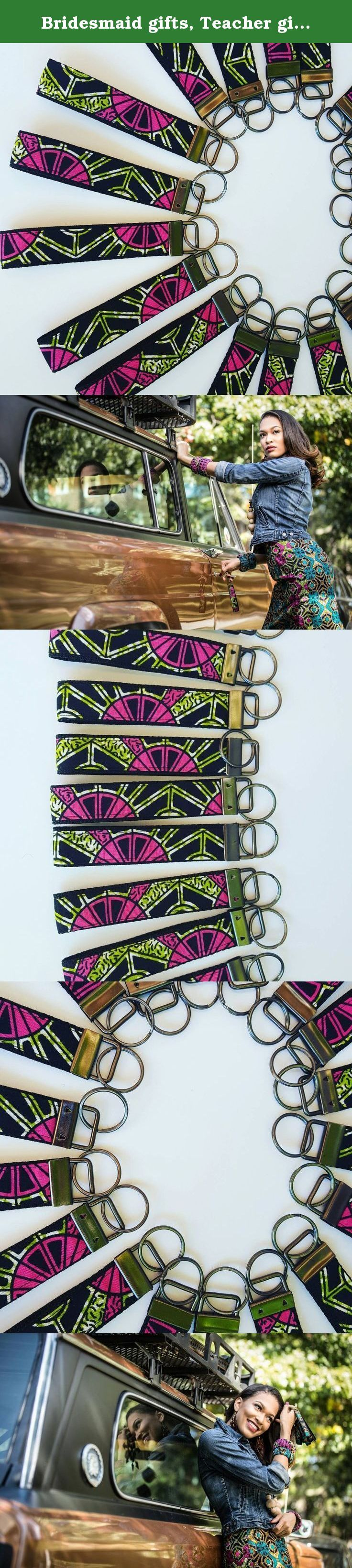 """Bridesmaid gifts, Teacher gifts, Shower gifts, Party gifts, Co-worker gifts, Key fobs, Key chains, Key holders,Employee gifts, Fabric key chains, Bridal party gifts. Key fob, Bridesmaid gifts, Co-Worker gifts, Key fob wristlets *Handmade -- Pattern placement may vary; *Sold individually; *African print fabric + Black polyblend webbing; *Wristlet Size 1"""" wide x 10"""" around (5"""" when lying flat - not including hardware); *Hardware: Antique Brass. A portion of net profits from the sale of…"""