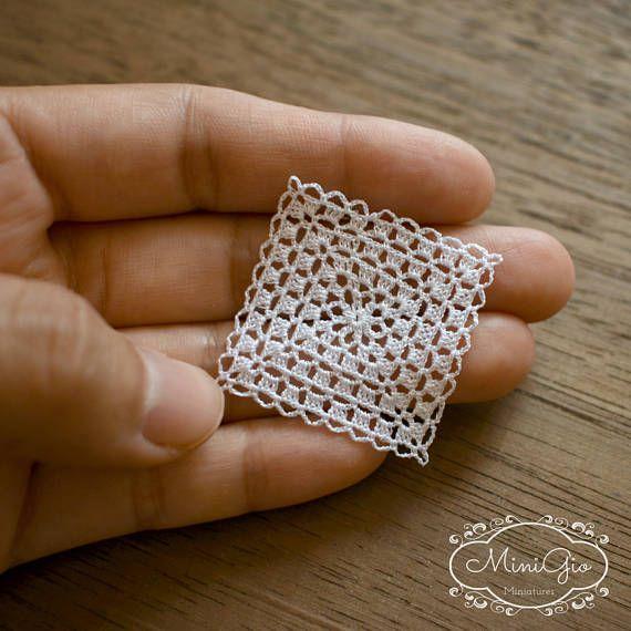 Miniature crochet square doily 1.2 inches, dollhouse crochet tablecloth, 1:12 dollhouse miniature white small doily micro crochet by MiniGio