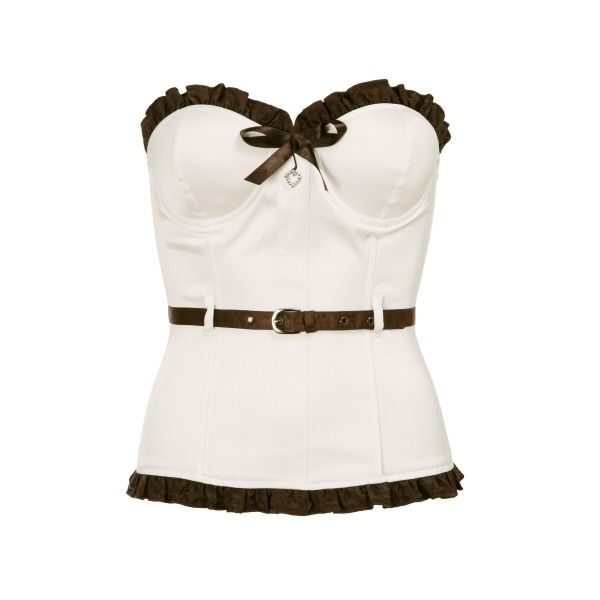 Belted Ruffle Corset (£10) ❤ liked on Polyvore featuring tops, corsets, shirts, blusas, corset shirt, sexy corset tops, skinny belt, shirts & tops and corset tops
