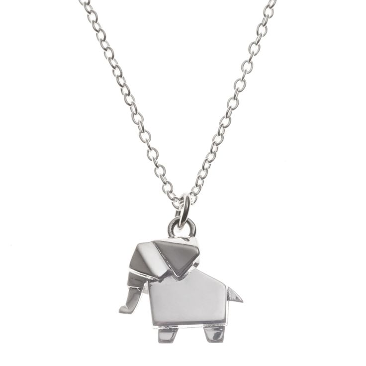 Oliver Bonas Jewellery Silver Origami Elephant Necklace