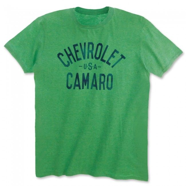 Chevrolet USA Camaro Tee - Heather Green  The name says it all. Straight-forward and boldly printed on these brightly colored tees. 65% polyester/35% cotton. Imported.  SKU: SM2-MT269