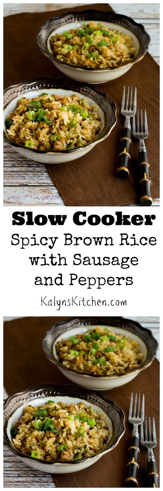 Slow Cooker Spicy Brown Rice with Sausage and Peppers is so delicious. For a lower-carb version of this, I'd just double the amount of sausage and peppers and use the same amount of rice. (Gluten-Free, Can Freeze) [from KalynsKitchen.com]