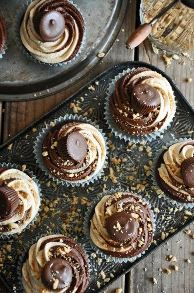 Devils Food Cupcakes w Choc and Peanut Butter Twirled Frosting