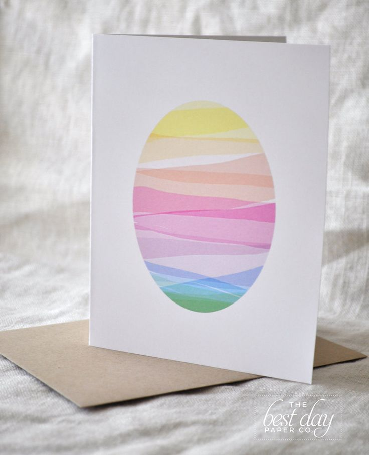 handmade Easter Card. via Etsy ... looks like egg cut from sheet of overlapping washi  lines .. lovely pastel colors ...
