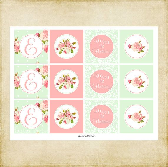 Shabby Chic  Decorative Party Circles  Printable by FourLeafPrints, $5.00