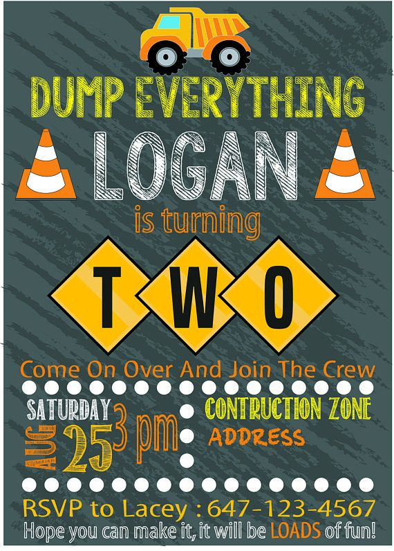 Construction Theme Second Birthday Party Invitation Custom Printable Download File Invite For Boys Turning Two