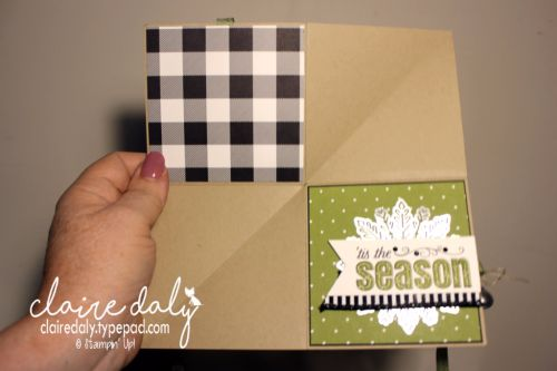 Stampin Up squash fold card / fancy fold card for Christmas 2017 using Stampin' Up! Merry Patterns stamp set and Holiday Catalogue 2017 embellishments. Card by Claire Daly Stampin' Up! Demonstrator Melbourne Australia
