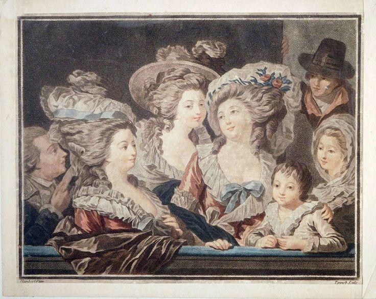 Farb-Aquatinta, Theaterbesuch, Hambert/Tennob, um 1780, Louis Seize, Mode