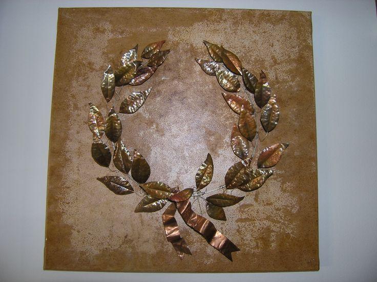 50 Χ 50 ,χάλκινα φύλλα σε  τελάρο ζωγραφικής