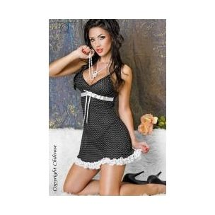 CHEMISE A POIS CON MERLETTO IN PIZZO CHILIROSE  http://www.sexyshopfringuino.it/product.php?id_product=166#  Pretty black polka dot chemise Chilirose made of soft stretch fabric. Underbust band of white satin Chemise Chilirose is enriched with bow in the center, while the lower edge is embellished with lace wavy lace. The straps are adjustable. The Matching thong to chemise Chilirose has the internal part made of cotton.  She also wears black polka dot chemise you to CHILEROSE!