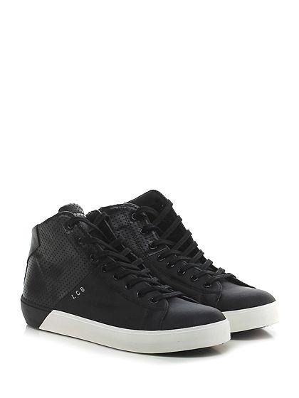 Leather Crown - Sneakers - Uomo - Sneaker in pelle forata ed eco pelle lavorata con zip su lato interno e suola in gomma. Tacco 35, platform 25 con battuta 10. - NERO - € 278.00