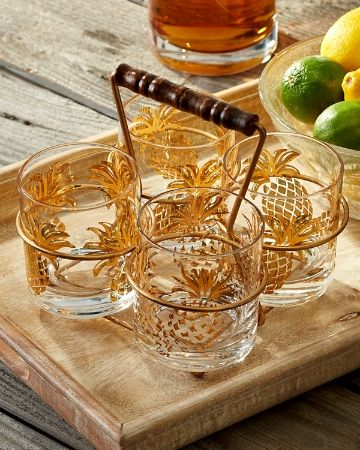 Tommy Bahama - Pineapple Glasses and Caddy Set