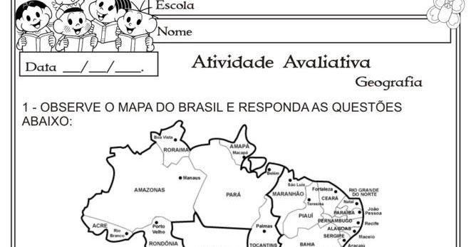 Modelo De Avaliacao Geografia Estados E Capitais Rosa Dos Ventos