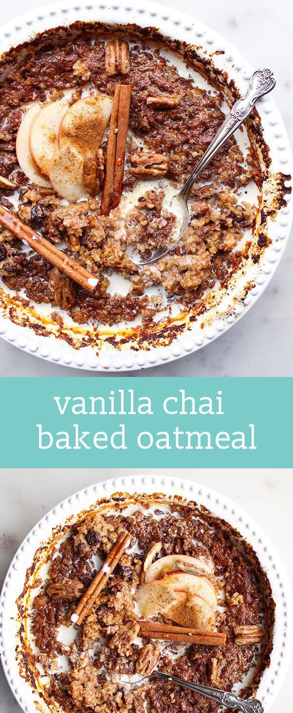 vanilla chai baked oatmeal / breakfast recipe / steel cut oats / pecans, raisins, chai spices / sweetened with maple syrup / brunch recipe via @kristiepryor