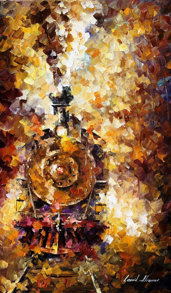 "Train Of Hapiness — PALETTE KNIFE Figure Modern Wall Art Deco Oil Painting On Canvas By Leonid Afremov - Size: 20"" x 30"" (50 cm x 75 cm)"