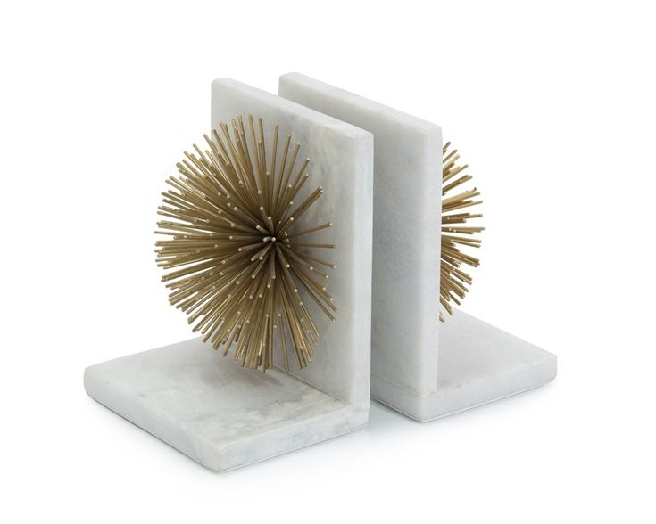 Gold Bursts on White Marble Bookends - Accessories - New Introductions - Our Products